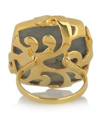 Monica Vinader | Green Gold-Plated Labradorite Ring | Lyst