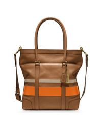 0f54813404 Lyst - COACH Bleecker Debossed Painted Stripe Tote in Orange for Men