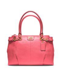 COACH - Pink Madison Leather Kara Carryall - Lyst