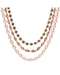COACH - Pink Triple Strand Rhinestone Necklace - Lyst