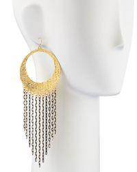 Devon Leigh - Metallic Sweepy Chain Hoop Earrings - Lyst