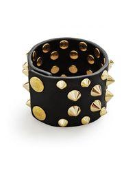Balmain | Black Studded Leather Bracelet Gold | Lyst