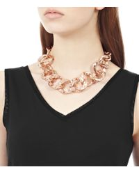 Reiss | Metallic Lorita Hammered Link Necklace | Lyst
