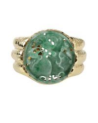 David Webb | Green Carved Jade Cuff Bracelet | Lyst