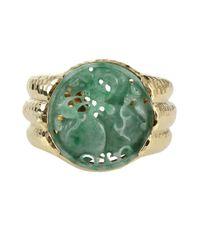 David Webb - Green Carved Jade Cuff Bracelet - Lyst