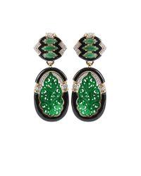 David Webb - Green Diamond and Black Enamel Carved Jade Earrings - Lyst