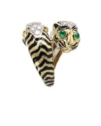 David Webb - Metallic Double Tiger Ring with Emeralds and Diamonds - Lyst