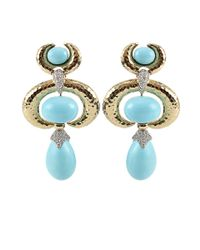 David Webb - Blue Turquoise Earrings with Diamonds - Lyst