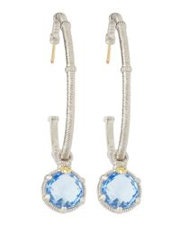 Judith Ripka - Metallic Quartz Drop Hoop Earrings - Lyst