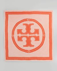 Tory Burch - White Striped Logo Square Scarf - Lyst