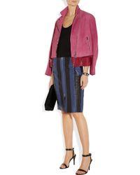 Acne Studios | Blue Voila Stripe Texturedleather Pencil Skirt | Lyst