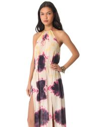 Blu Moon - Pink Two Slit Halter Dress - Lyst