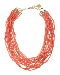 Devon Leigh | Orange Peach Coral Multi Strand Necklace | Lyst