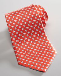 Ferragamo - Red Elephants with Flower Silk Tie  for Men - Lyst