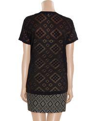 Jonathan Saunders - Blue Geometric Devoré Cottonblend Tshirt - Lyst
