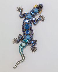 Lanvin | Blue Salamander Brooch | Lyst