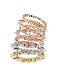 TOPSHOP - Multicolor Rhinestone and Spike Bracelet Pack - Lyst