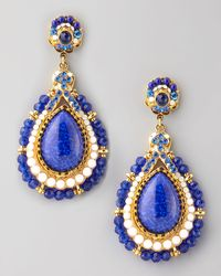Jose & Maria Barrera | White Beaded Teardrop Clip Earrings Blue | Lyst