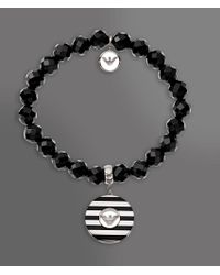 Emporio Armani - Black Bracelet in Steel and Onyx - Lyst