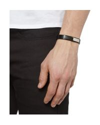 Saint Laurent - Black Leather and Metal Bracelet for Men - Lyst