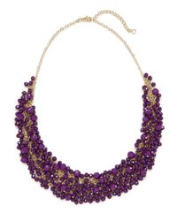 BaubleBar | Purple Violet Gem Cluster Necklace | Lyst
