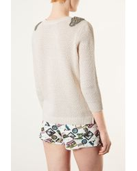 TOPSHOP | Natural Knitted Embellished Jumper | Lyst