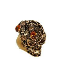 Alexander McQueen | Metallic Bee Skull Ring | Lyst