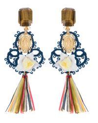 Dolce & Gabbana | Blue Raffia Earring | Lyst