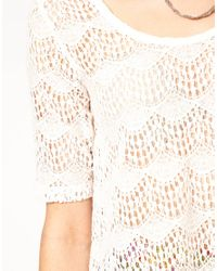 MINKPINK | White High Tea Crochet Top with Zip Back | Lyst