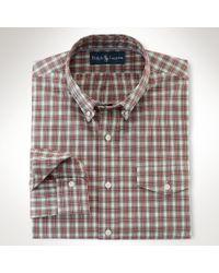 Polo Ralph Lauren - Red Slim-Fit Checked Linen Shirt for Men - Lyst