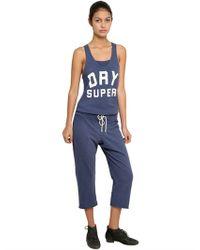Superdry | Blue Logo Print Light Cotton Fleece Jumpsuit | Lyst