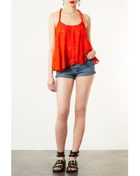 TOPSHOP - Orange Rope Strap Embroidered Cami - Lyst
