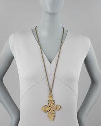 Vanessa Mooney - Black Zelda Brass Pendant Necklace - Lyst