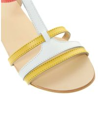 ASOS - Yellow Florence Leather Flat Sandals - Lyst
