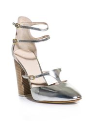 Chloé | Metallic Leather Block Heel Shoes | Lyst