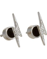 Ileana Makri | Metallic White Diamond Little Thunder Studs | Lyst