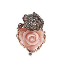 Wendy Yue | Carved Pink Opal Flower Ring | Lyst
