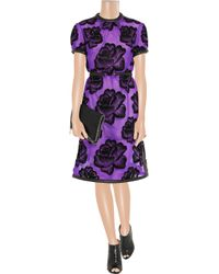 Christopher Kane | Purple Leathertrimmed Flocked Tulle Dress | Lyst