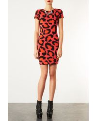 TOPSHOP | Orange Leopard Cutout Bodycon Dress | Lyst