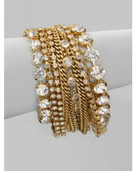 ABS By Allen Schwartz | Metallic Multirow Chain Link Bracelet | Lyst