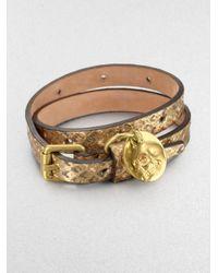 Alexander McQueen - Double Wrap Metallic Snake Embossed Leather Bracelet - Lyst