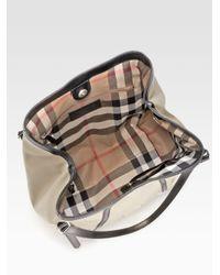 Lyst - Burberry Canterbury Canvas Shoulder Bag in Natural 1f06318d76d97