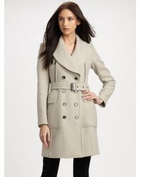 Burberry Brit | Natural Wool-blend Belted Coat | Lyst