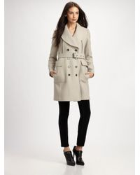 Burberry Brit - Natural Wool-blend Belted Coat - Lyst