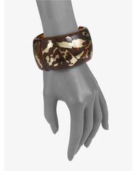 Kenneth Jay Lane - Metallic Gold Leaf Hinged Bracelet - Lyst
