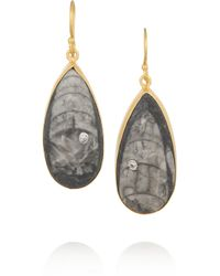 Kevia - Gray Goldplated Orthoceras Fossil and Cubic Zirconia Earrings - Lyst