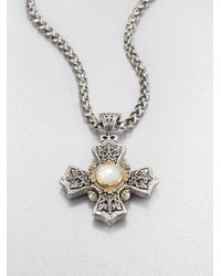 Konstantino | Metallic Motherofpearl Pearl Sterling Silver and 18k Yellow Gold Cross Necklace | Lyst
