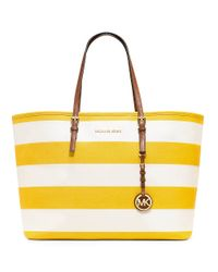 MICHAEL Michael Kors - Yellow Jet Set Stripe Medium Travel Tote - Lyst