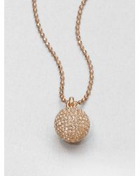 Michael Kors - Metallic Pavé Ball Pendant Necklace Rose Gold Tone - Lyst