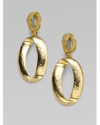 Oscar de la Renta - Metallic Oval Drop Earrings - Lyst